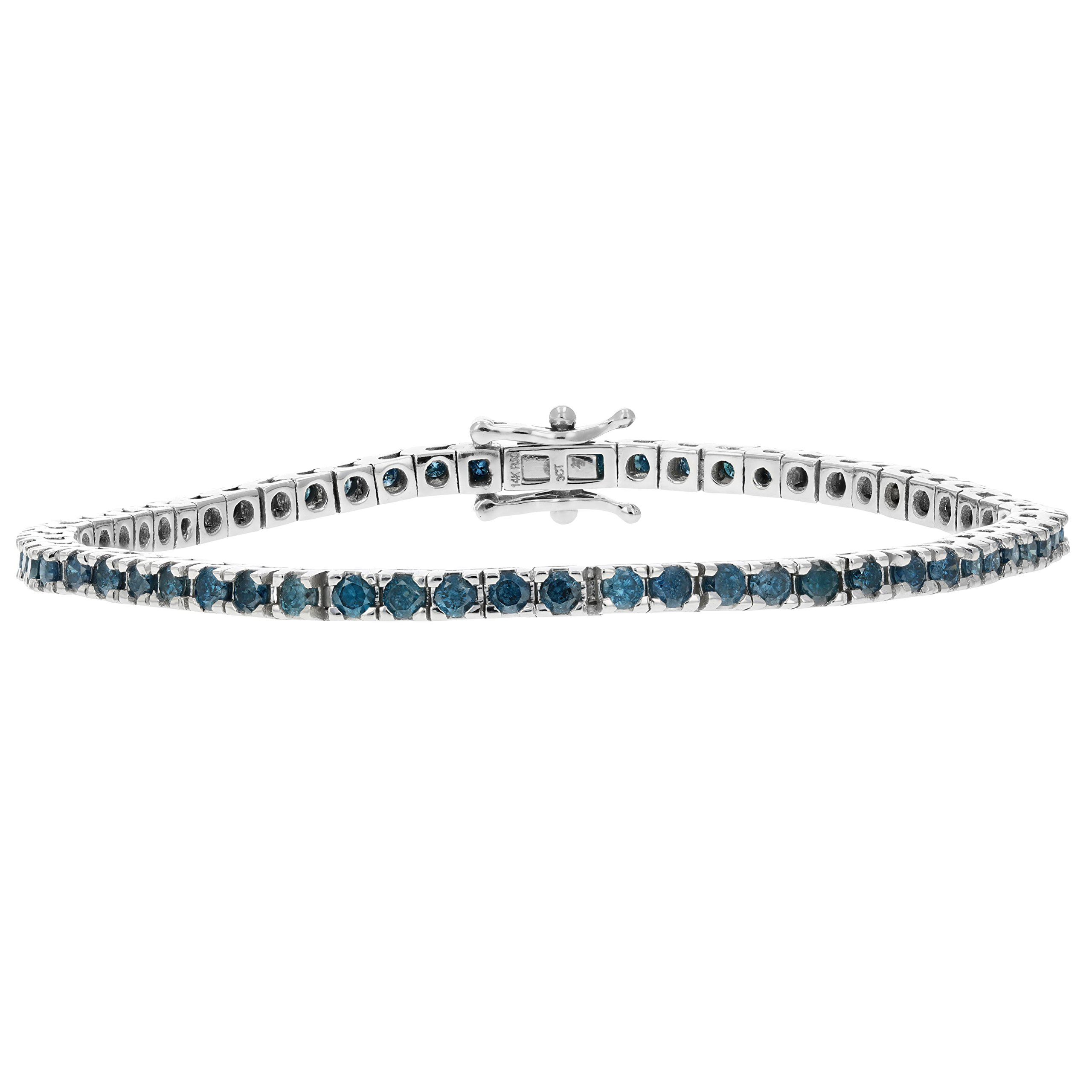 3 CT 14K White Gold Blue Diamond Tennis Bracelet