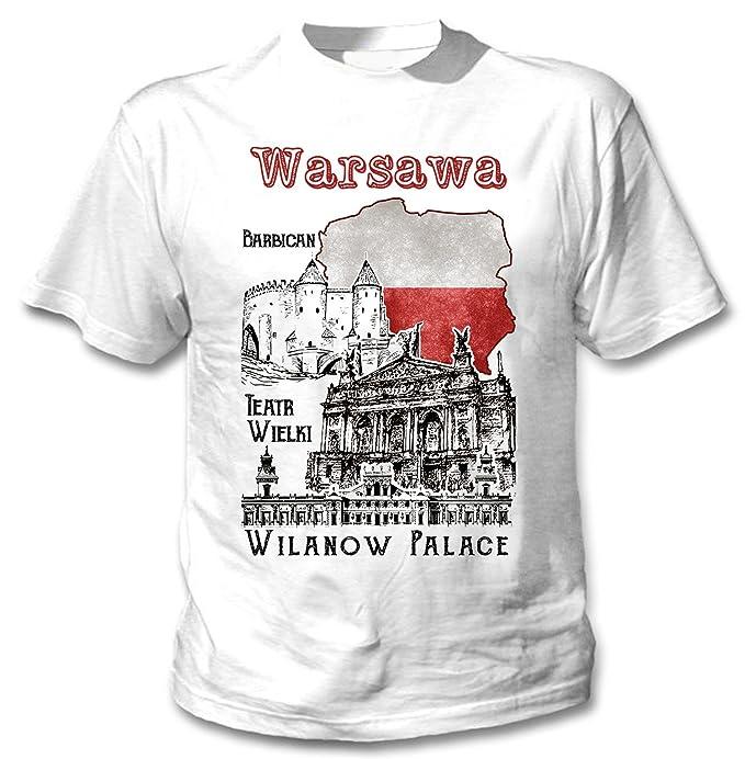 5cd22b4ec988 Amazon.com  Teesquare1st Men s WARSZAWA WARSAW POLAND White T-Shirt ...