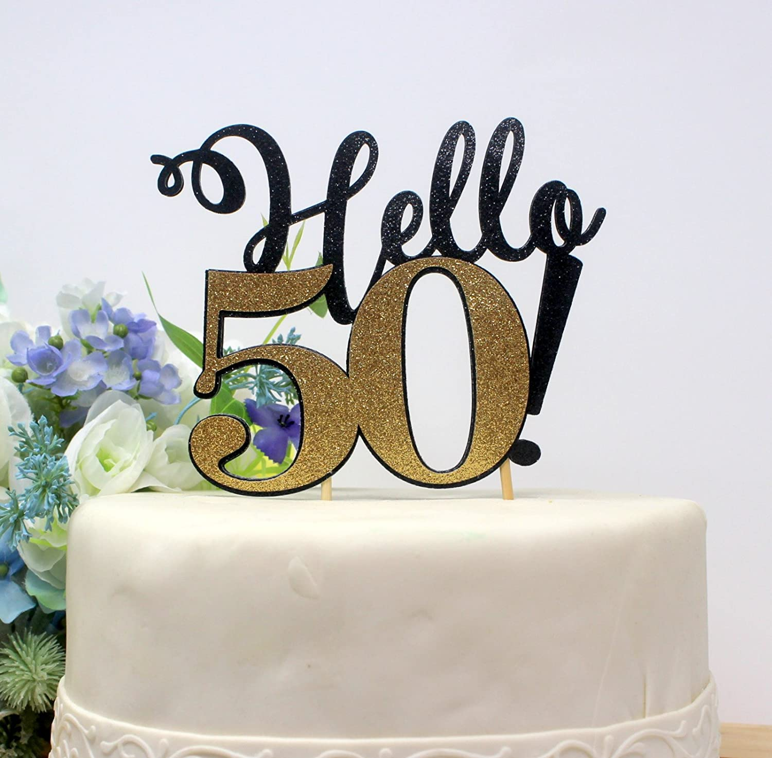 Amazon All About Details Hello 50 Cake Topper1pc 50th Birthday Decoration Party Decor Glitter Topper Black Gold Kitchen Dining