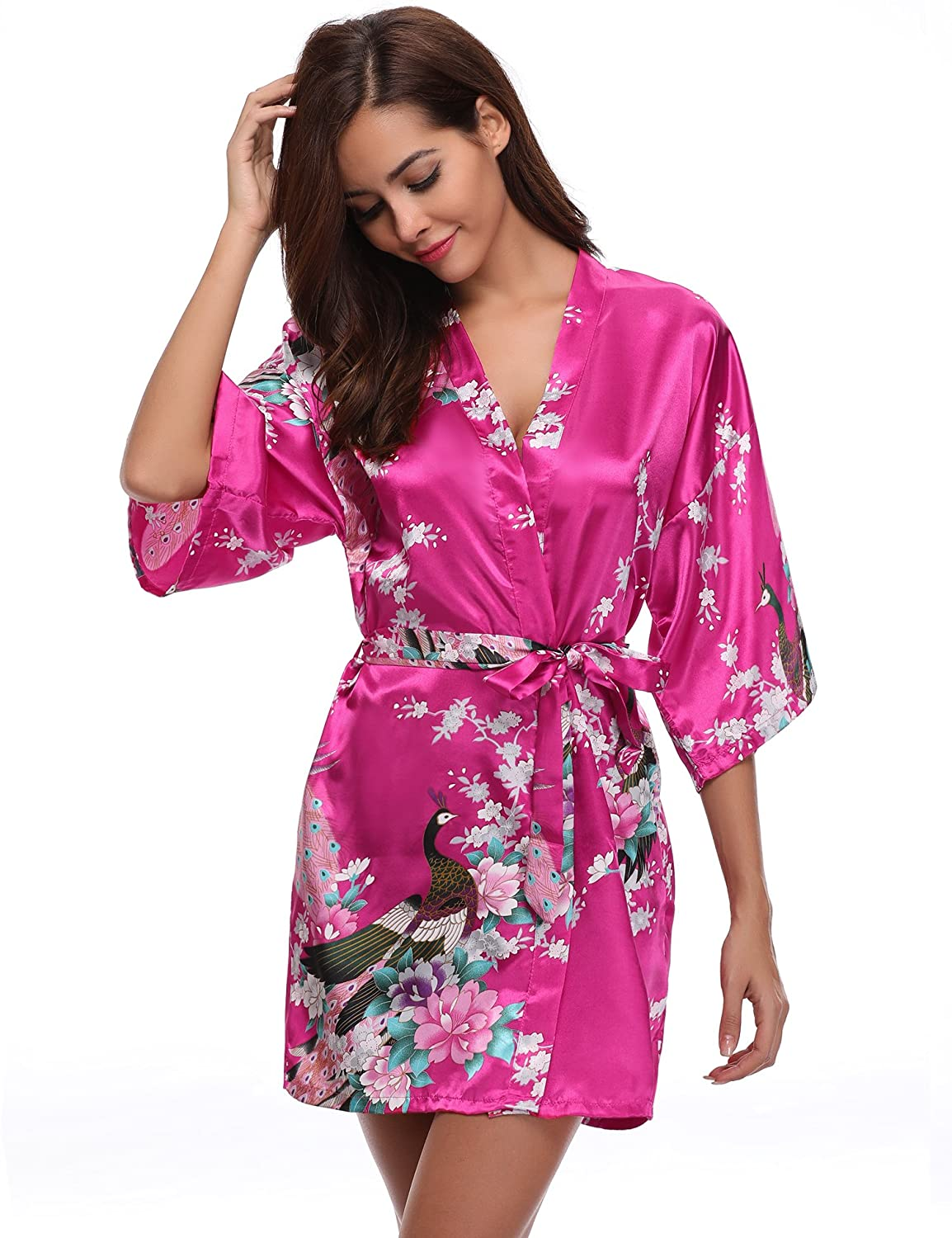 Aibrou Womens Bridesmaid Robes Short Peacock Blossoms Silk Stain Kimono Robe Dressing Gown am16062402