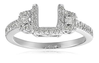Amazon Com 14k White Gold Round And Princess Diamond Solitaire