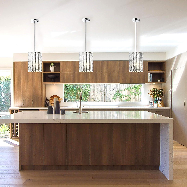 Crystal Chandelier Pendant Lighting 1 Light Rustic Bronze Kitchen Island Ceiling Light Fixture
