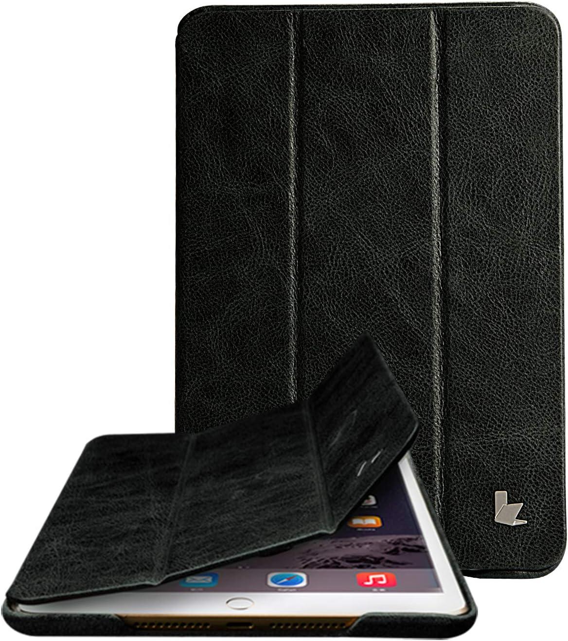 Jisoncase iPad Mini 4 Case, Leather Ultra Slim Smart-Shell Stand Cover Case with Auto Wake/Sleep for Apple iPad Mini 4 in Ash Black