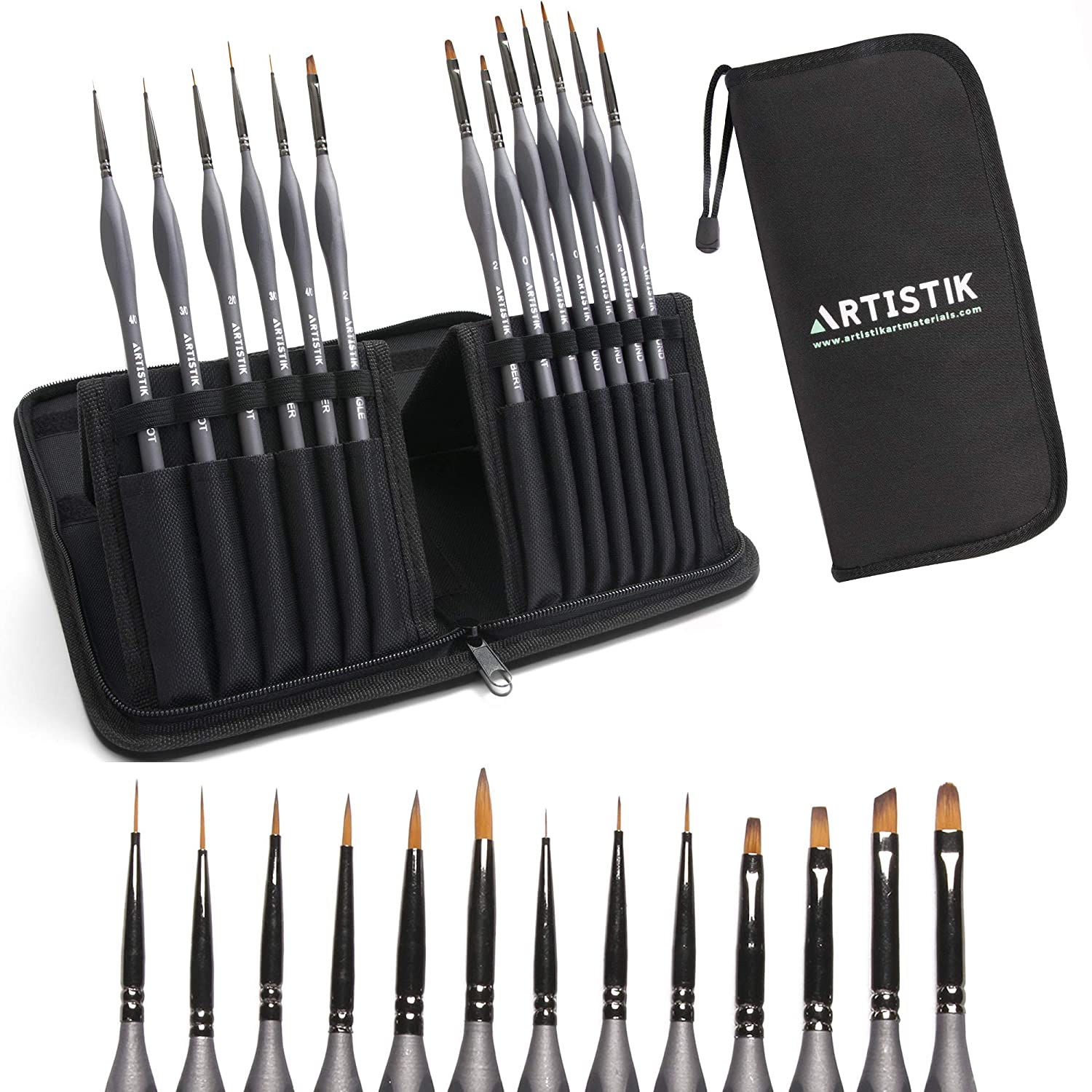 Miniature Painting Kit - (Set of 13) Micro Detail Paint Brushes with Black Carrying Case for Painting Action Figures, Models, Nail Art, Fantasy Nails, Acrylic, Oil, Detail Art, Stained Glass and More