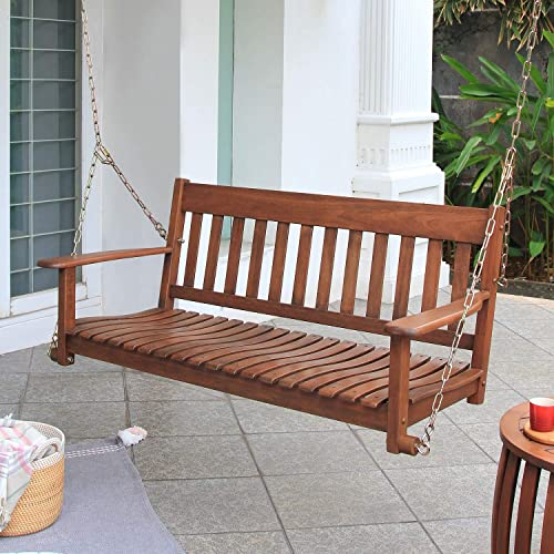 Cambridge Casual Alston Traditional Mahogany Wood Porch Swing Natural Brown