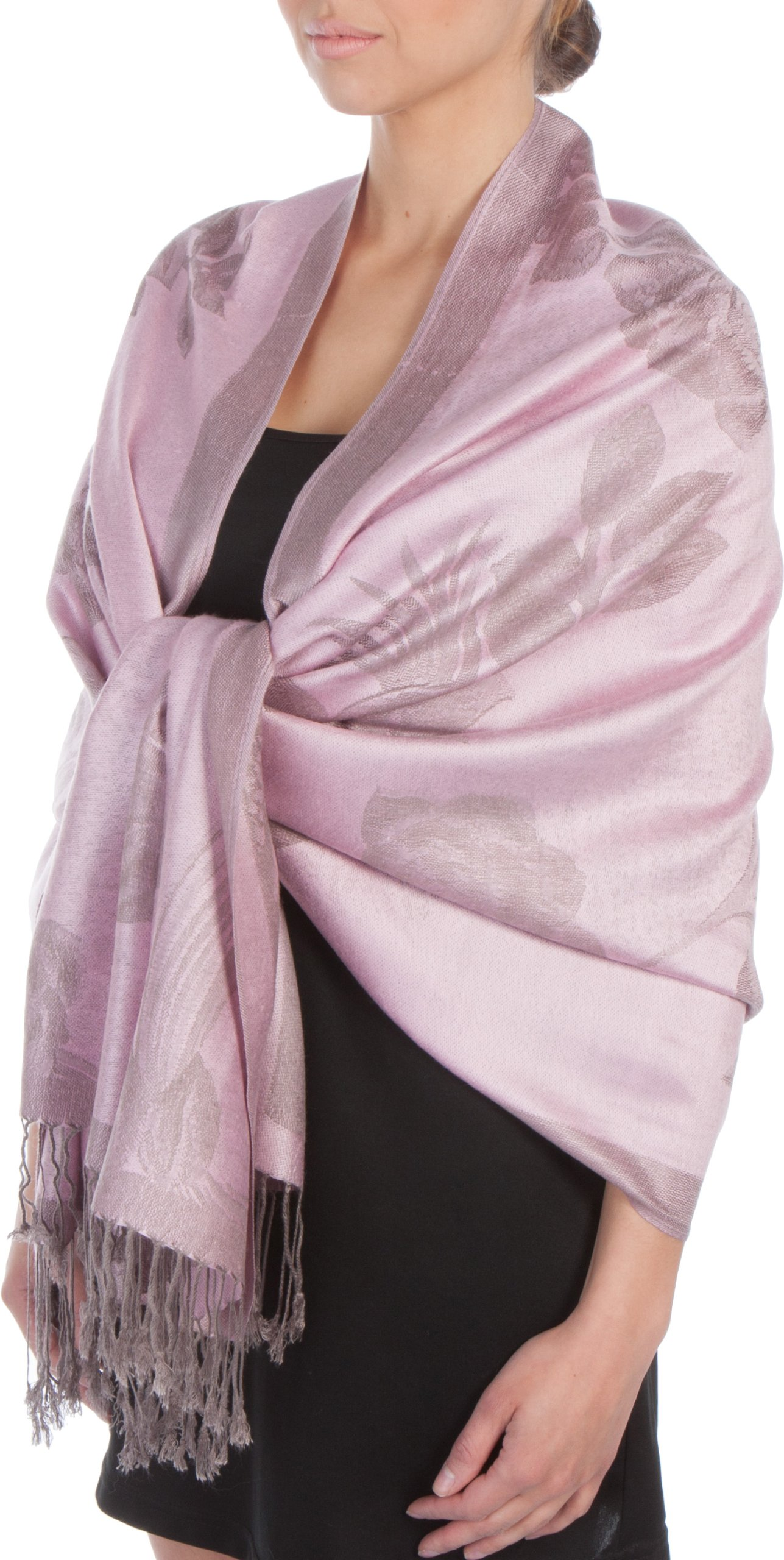 603489a147fb Sakkas Châle Echarpe Etole Léger Deux couleurs Rose Floral Design Contours  Pashmina (Au