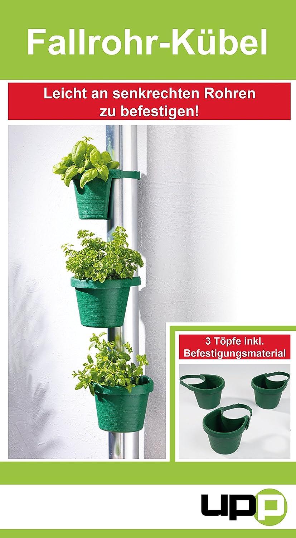UPP Products Fallrohr Blumentöpfe 3 Stück grün / Pflanzkübel ...