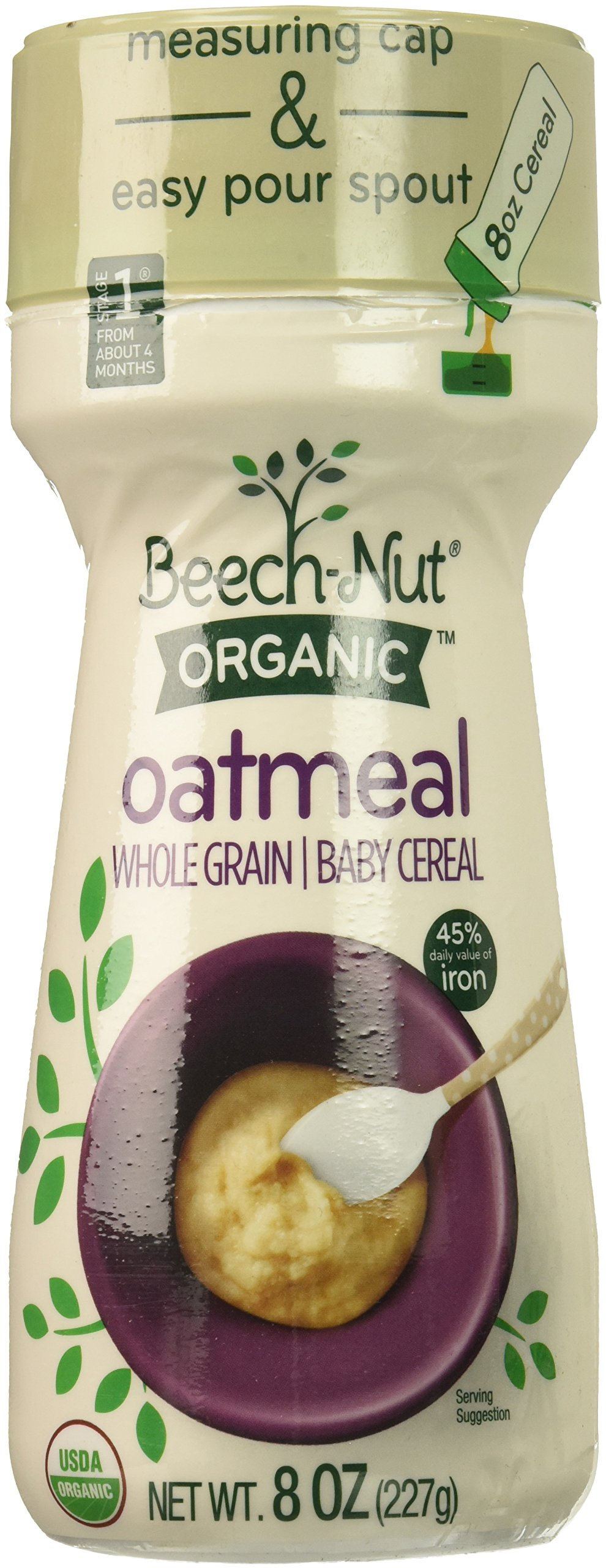 Beech-Nut Organic Oatmeal Baby Cereal Canister, 8 Ounce