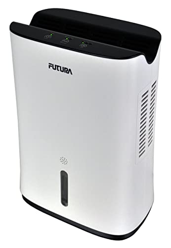 Futura 2L Compact & Portable Air Dehumidifier for Damp, Mould, Moisture in Home or Office with Soft Touch Control Panel, Countdown Timer Auto Shut Off