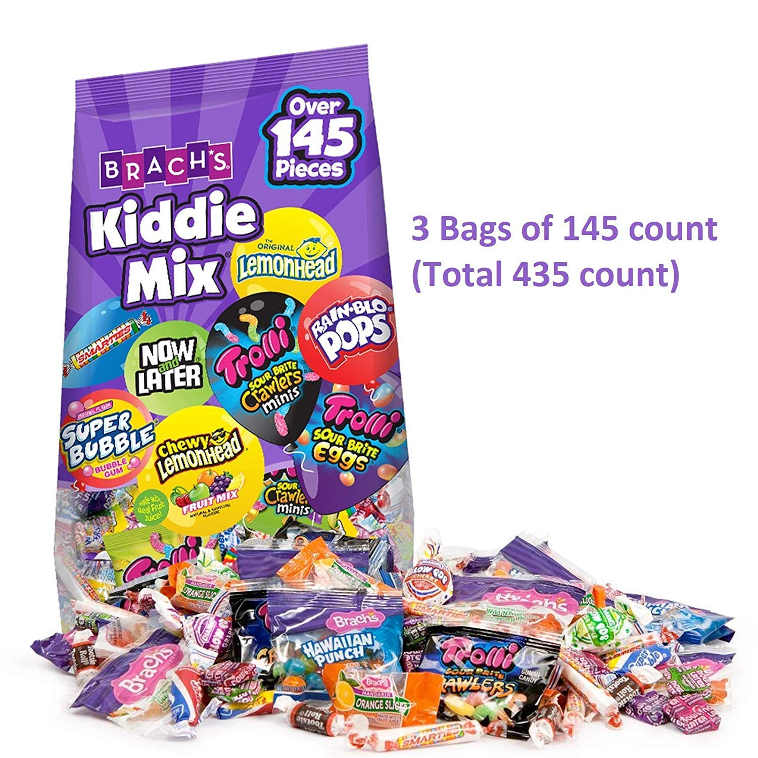 Variety Mix Pack, Assorted Individually Wrapped Halloween Candies -- 145 Pieces Per Pack -- ( 1 Box - 3 Packs - 435 Pieces ) by Brach's