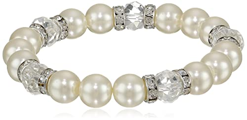 1928 Jewelry Bridal Crystal Silver-Tone Simulated Pearl and Crystal Stretch Bracelet, 7