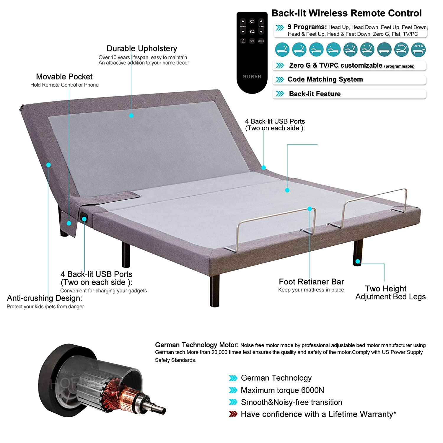Amazon.com: HOFISH 2S Wired Mesh Layer Adjustable Bed Base - One ...