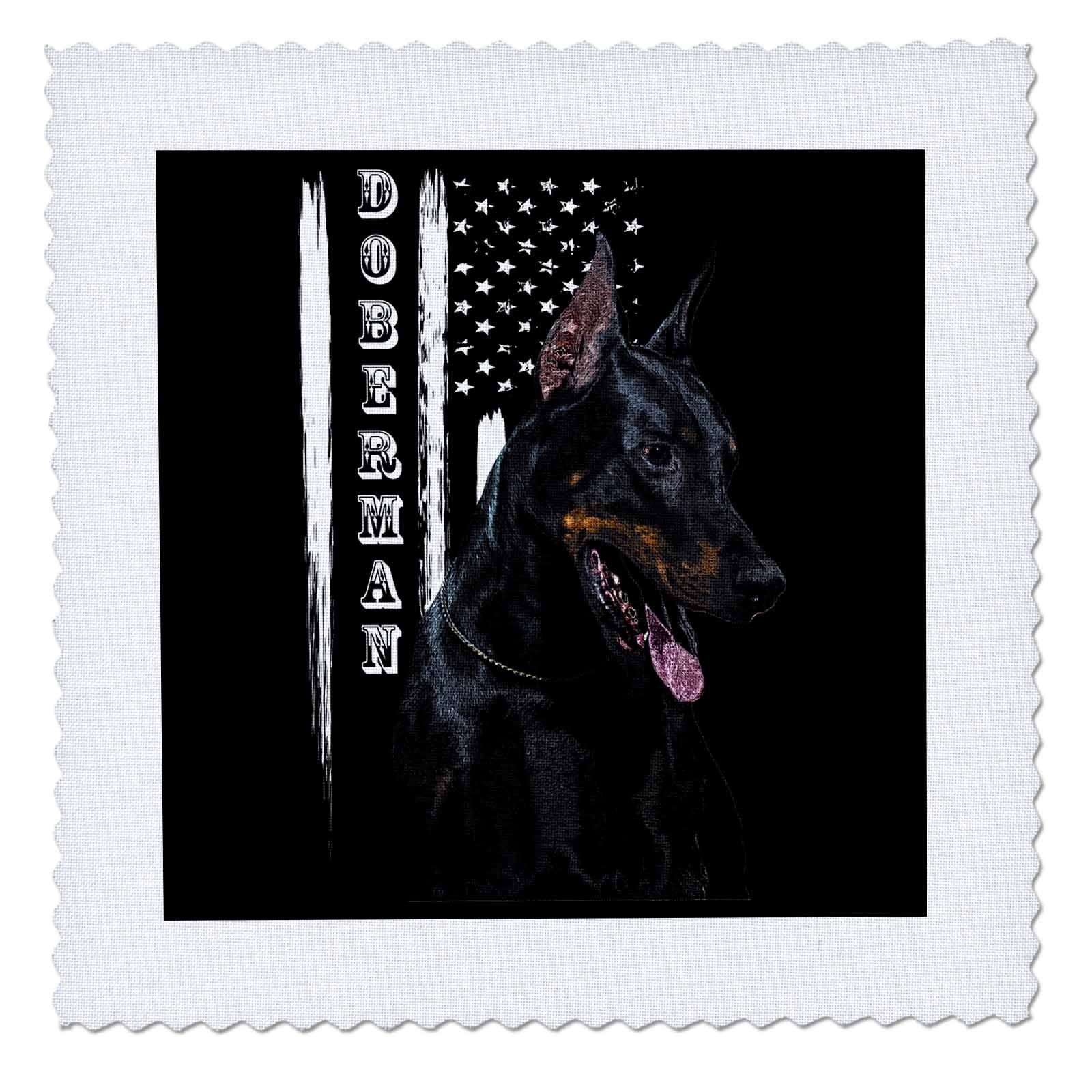 3dRose Sven Herkenrath Animal - A Trendy Dobermann on Black Background Black And White American Flag - 16x16 inch quilt square (qs_280395_6)