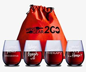 4 Wine Glasses with Travel Bag & Box Unbreakable Great Funny and Durable Shatterproof Plastic Stemless Wine Cocktail any Beverage Outdoor Party Pool Beach Take Anywhere 20oz (C)
