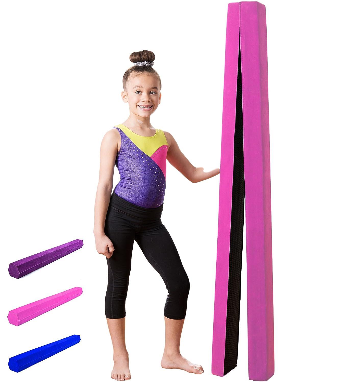 10 ft折りたたみ式バランスビーム、Extra Long体操床梁会社と、軽量耐久性フォーム|スエード調サーフェス|ノンスリップラバー下部| Kid Gymnastホーム練習機器 B078J7T2FL ピンク