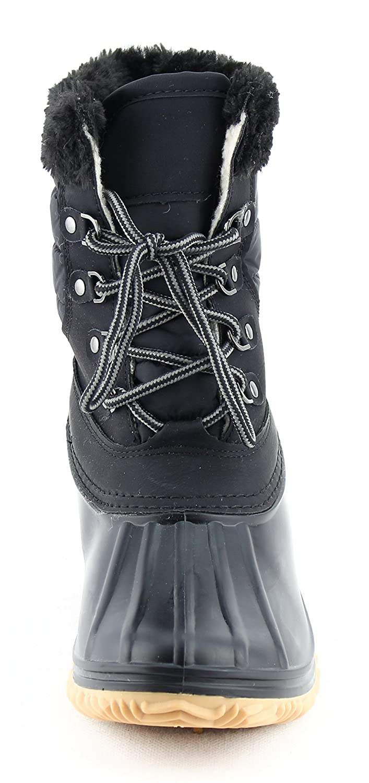 CALICO KIKI Women's Lace Up Warm Water Resistant Fur Padded Winter Snow Duck Boots B078KDTKNW 5.5 B(M) US Black