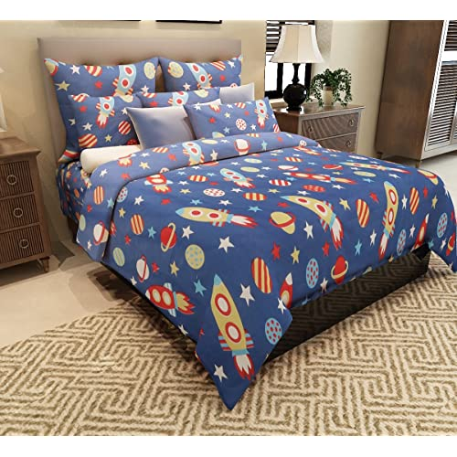 Home Candy 144 TC Rockets Kids Cotton Double Bedsheet With 2 Pillow Covers    Blue