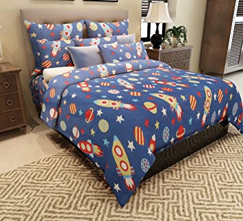 Home Candy 144 TC Rockets Kids Cotton Double Bedsheet With 2 Pillow Covers    Blue: Amazon.in: Home U0026 Kitchen