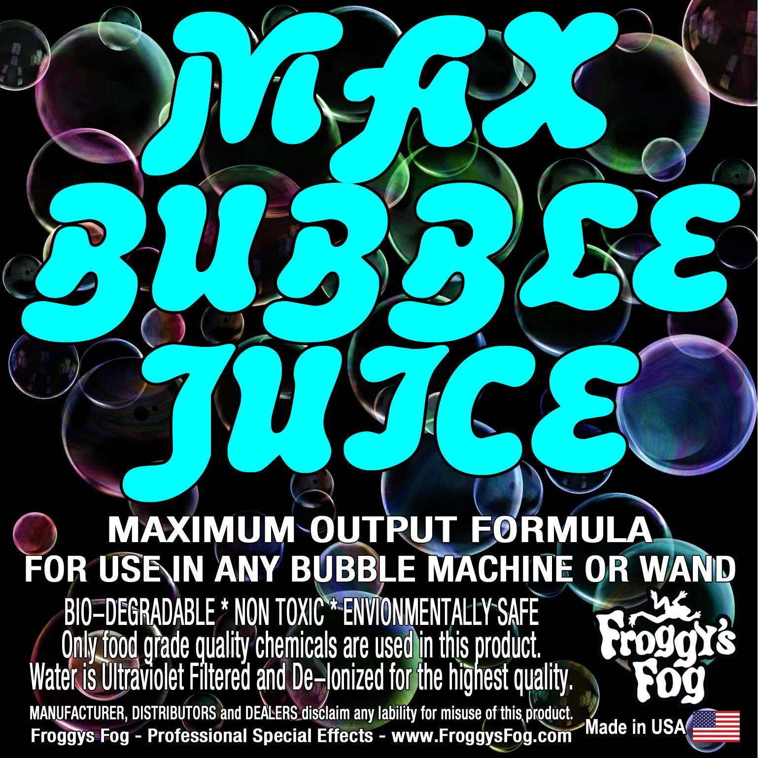 1 Gallon - MAX Bubble Juice Fluid - 10x the Bubbles from Standard Machines