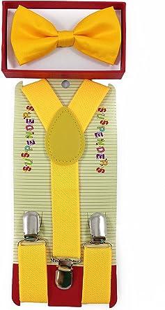 "/""YELLOW/"" Matching Suspender /& Bow-Tie Set Kids Toddler Baby Boys Girls"