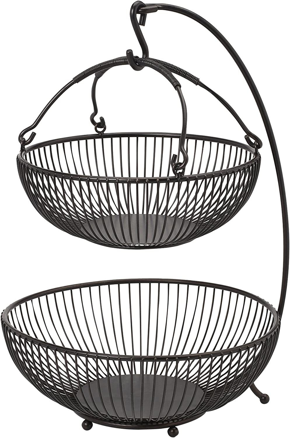Gourmet Basics By Mikasa Spindle Adjustable 2 Tier Basket With Banana Hook Black With Gold Antiquing Kitchen Dining