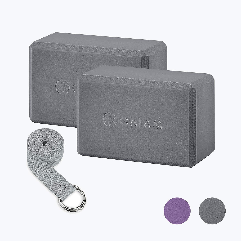 Gaiam Essentials Yoga Block 2 Pack /& Yoga Strap Set