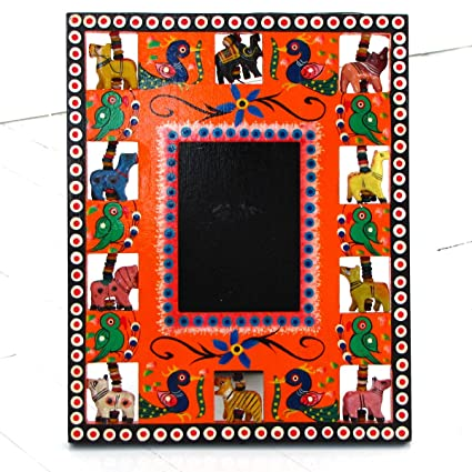 Amazon.com - Handcrafted Indian Folk Art Picture Photo Frame 3.5x4.5 ...
