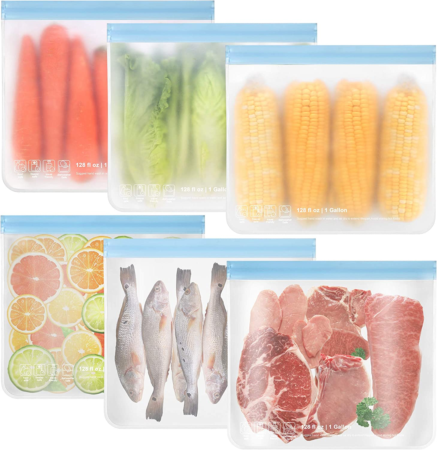 6 Pack Dishwasher Safe Reusable Gallon Freezer Bags, Reusable Food Storage Bags Extra Thick Leakproof Silicone & Plastic Free Zip-lock Bags For Marinate Meat Cereal Sandwich Snack Lunch