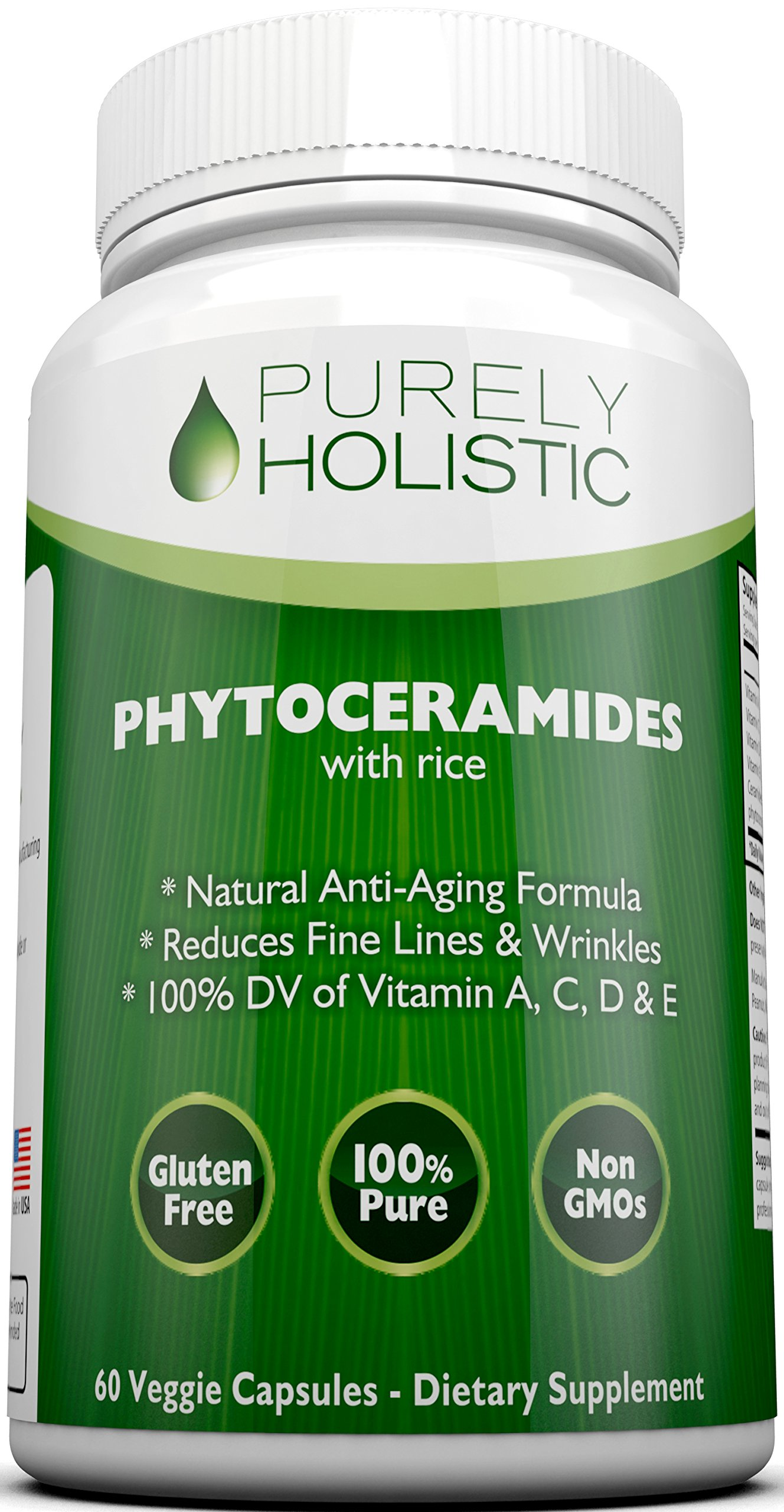 Phytoceramides Skin Therapy Supplement 60 Capsules - 100% - Rice Based, 100% Natural, Vegetarian Capsules, 100% DV of Vitamin A,C,D & E with No Fillers or Artificial Ingredients