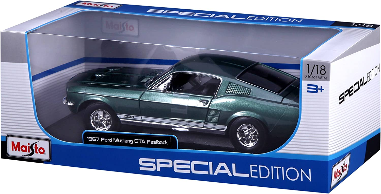 Green Maisto 531166 Scale Model Ford Mustang Fliessheck 1967 1:18 Scale