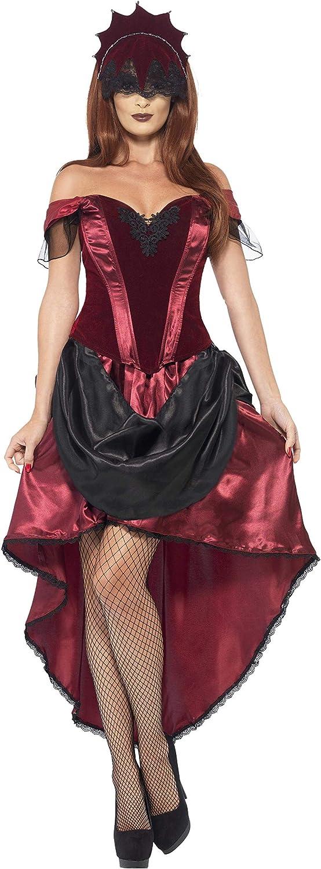 Smiffys-43743L Disfraz de vampiresa Veneciana, con Parte de Arriba, Falda y Adorno para la Cabe, Color Rojo, L-EU Tamaño 44-46 (Smiffy'S 43743L)