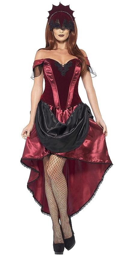 Smiffys Smiffys-43743S Disfraz de vampiresa Veneciana, con Parte de Arriba, Falda y Adorno para la Cabe, Color Rojo, S a M - EU Tamaño 36-42 43743S