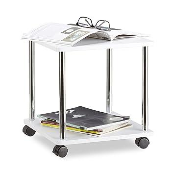 Tavolini Da Salotto Con Ruote.Relaxdays Tavolino Da Salotto Legno Carrello Con Ruote Multiuso