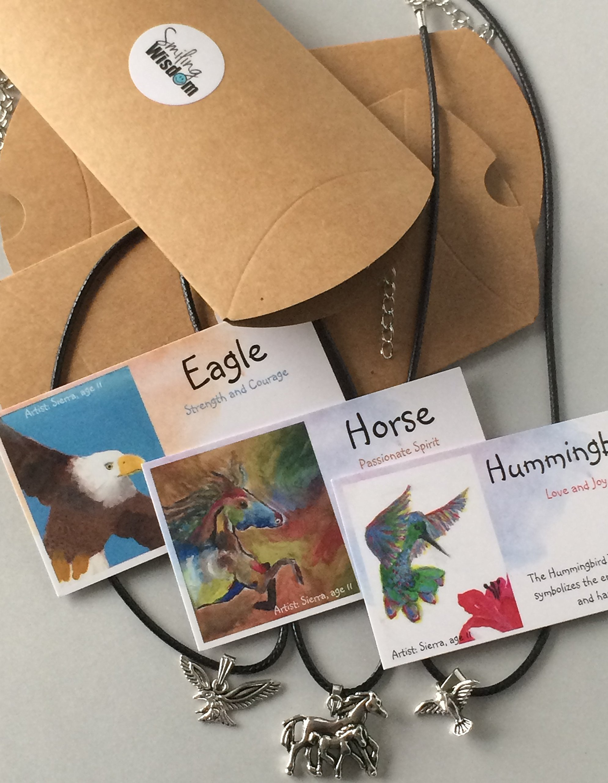 Smiling Wisdom - Horse, Hummingbird, Eagle Friendship Totem Animal Gift Set - Spirit Animals - Kids Party Favor Gifts - 3 Spirit Animal Necklace Value Pack - Gifts for Children, Boys, Girls