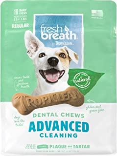 product image for TropiClean Fresh Breath Dental Chews for Dogs - Made in USA - Removes Plaque & Tartar - Gluten Free - Grain Free - Simulates Brushing