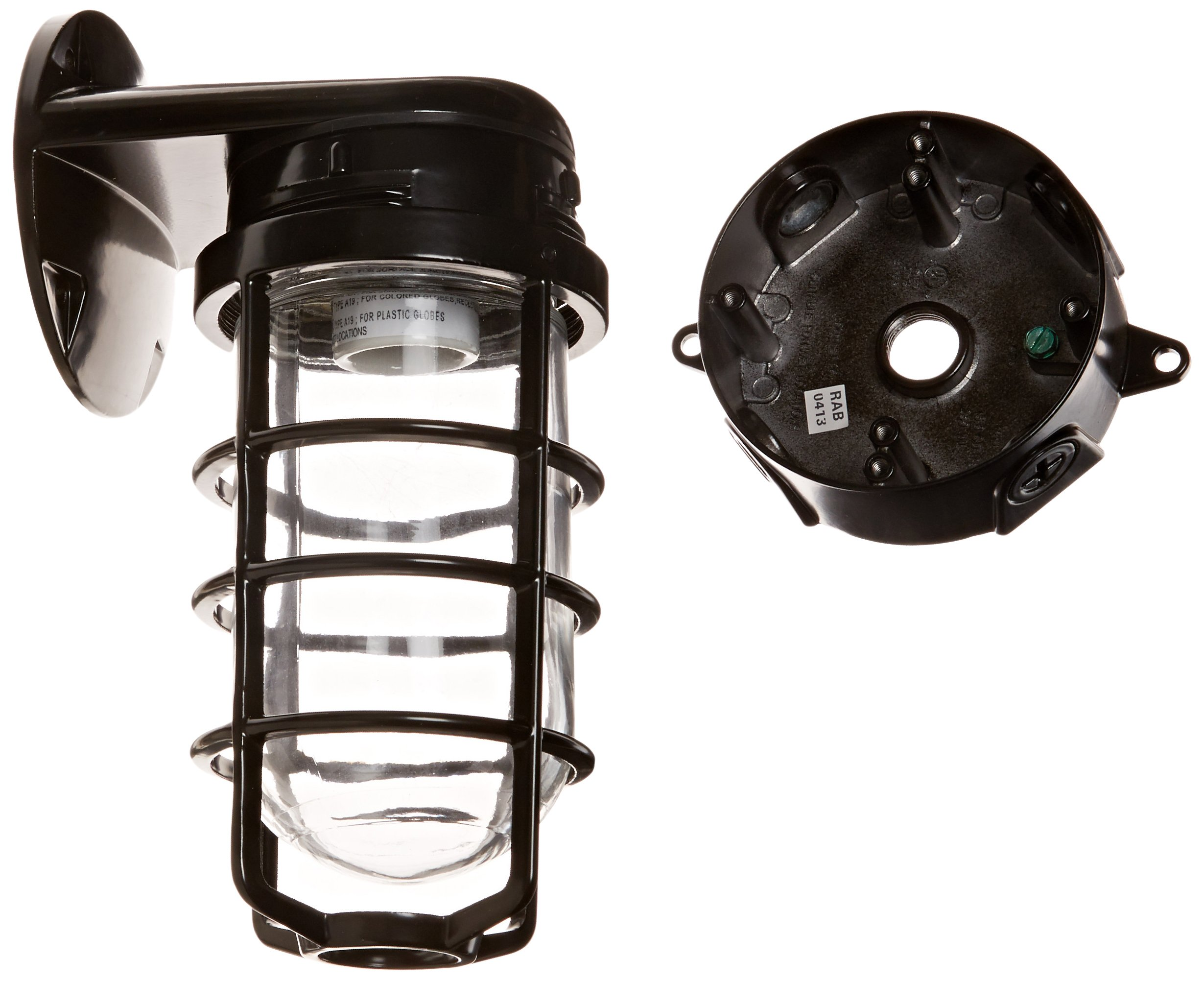 RAB Lighting VXBR100DGB Vaporproof VXBR 4'' Wall Bracket with Glass Globe and Cast Guard, A19 Type, Aluminum, 150W Power, 1/2'' Hub, Black by RAB Lighting