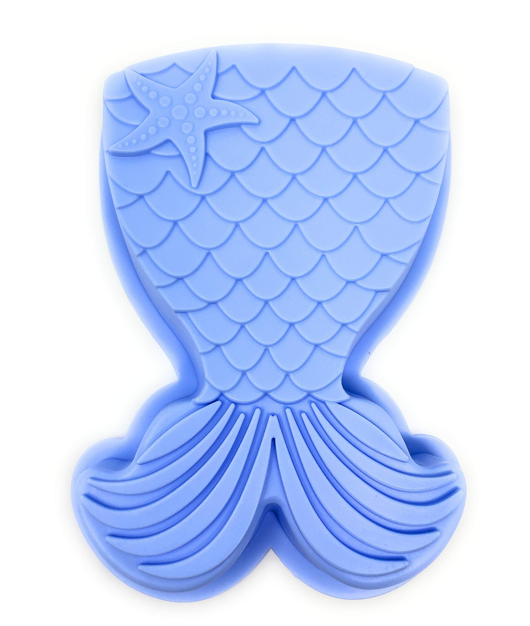Mermaid Cake Pan Features Silicone Mermaid Tail with Seashell: Colors May Vary