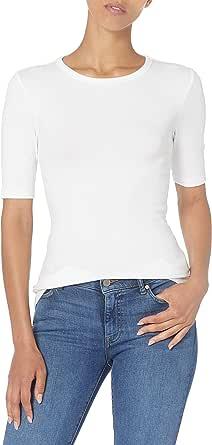 Amazon Essentials Women's Ribbed Knit Half Sleeve Crew Neck Slim Fit T-Shirt