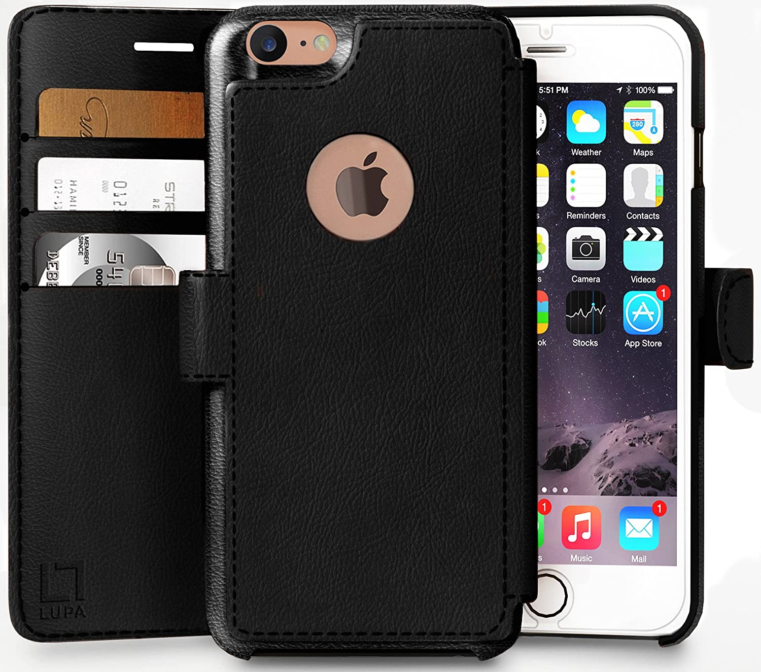 LUPA iPhone 6, 6s Wallet Case | Durable and Slim | Lightweight with Classic Design & Ultra-Strong Magnetic Closure | Faux Leather |Black |Apple 6/6s (4.7 in)