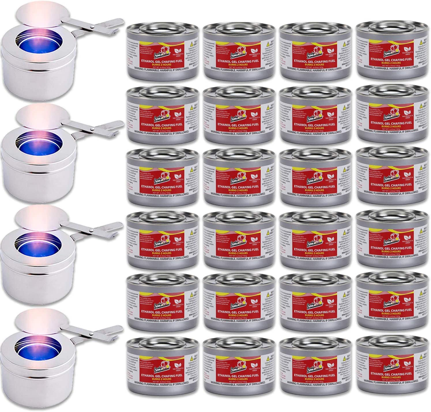 Chafing Dish Fuel Cans and Fuel Holders kit – Includes 24 Ethanol Gel Chafing Fuels, Burns for 2 Hours (6.43 OZ) 4 Fuel Holders with Safety Covers for your Cooking, Food Warming, Buffet and Parties.
