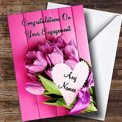 Amazon pink bunch of flowers romantic personalized engagement pink bunch of flowers romantic personalized engagement greetings card m4hsunfo