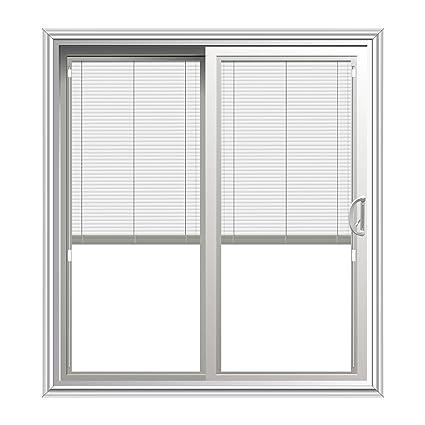 Sliding Patio Door With Blinds Between Glass In White, 70u0026quot; ...