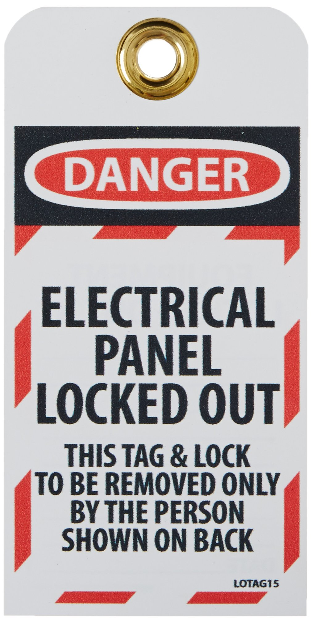 NMC LOTAG15''DANGER - ELECTRICAL PANEL LOCKED-OUT'' Lockout Tag, Unrippable Vinyl, 3'' Length, 6'' Height, Black/Red on White (Pack of 10) by NMC