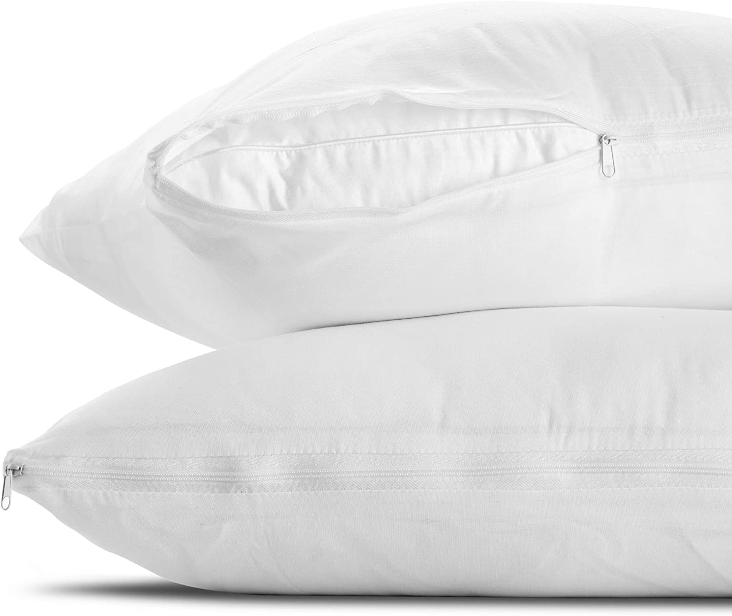 Hypoallergenic /& Quiet Dust /& Allergens Standard - Set of 2-20x26 100/% Cotton Breathable Pillow Covers Mastertex Standard Pillow Protectors 2 Pack Protects from Dirt