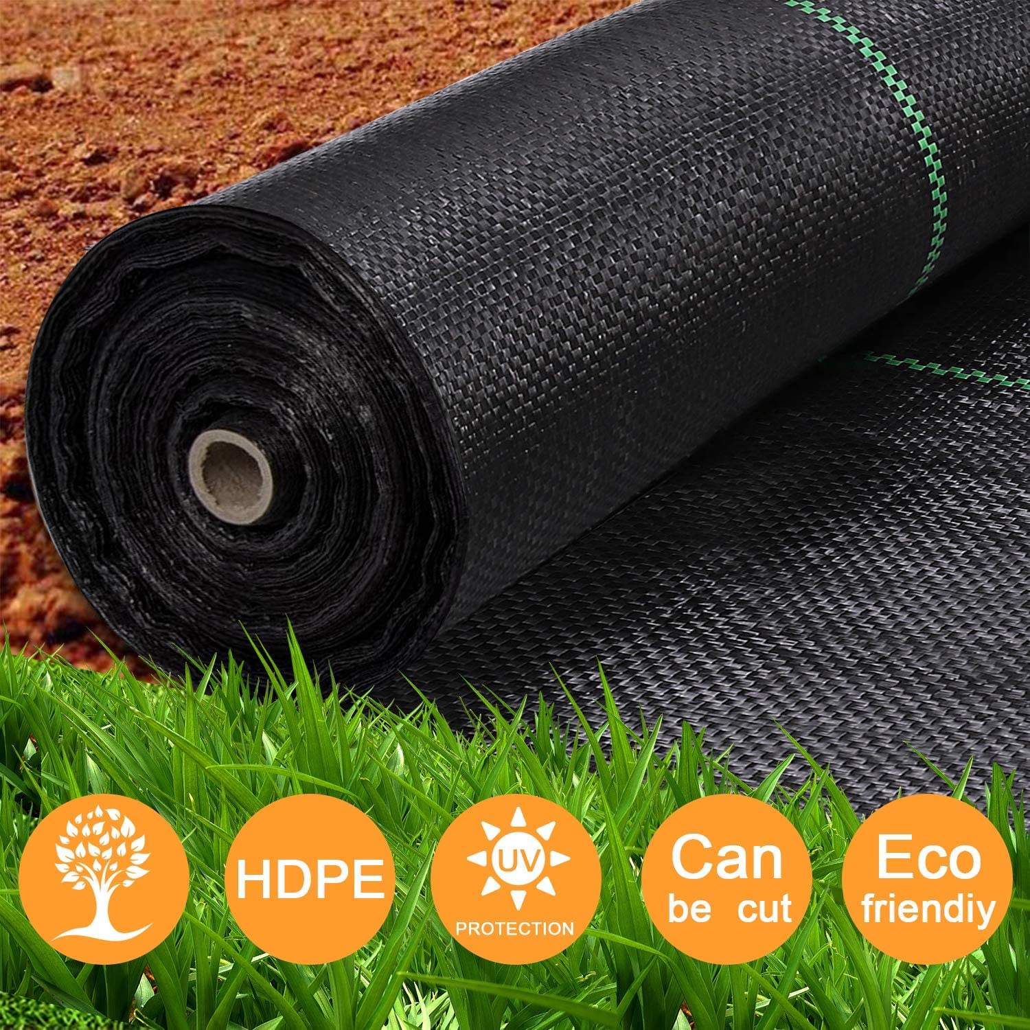 iropro Woven Weed Control Membrane Heavy Duty Landscape Ground Cover Membrane for Outdoor Gardens in Roll (2m x 25m )