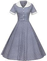 GownTown Women's 1950s Vintage Cap Sleeve Plaid Swing Dress Pockets