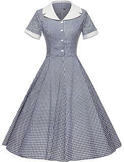 059d6e69530 Tecrio Women 1950 s Vintage Classy Plaid Wide Lapel Rockabilly Party ...