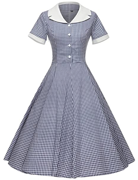 1950s Costumes- Poodle Skirts, Grease, Monroe, Pin Up, I Love Lucy GownTown Womens 1950s Vintage Cap Sleeve Plaid Swing Dress with Pockets $38.98 AT vintagedancer.com