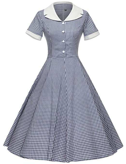Vintage Shirtwaist Dress History GownTown Womens 1950s Vintage Cap Sleeve Plaid Swing Dress with Pockets $38.98 AT vintagedancer.com