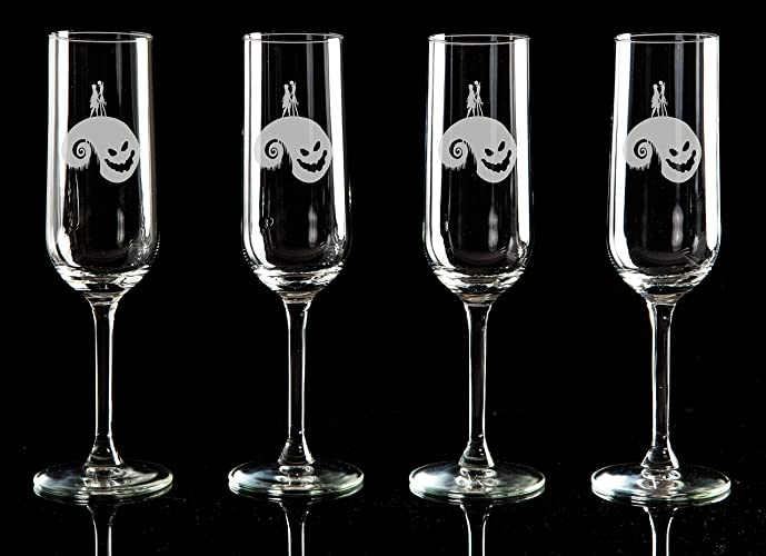 the nightmare before christmas jack skellington and sally hill etched flute glasses set of 1